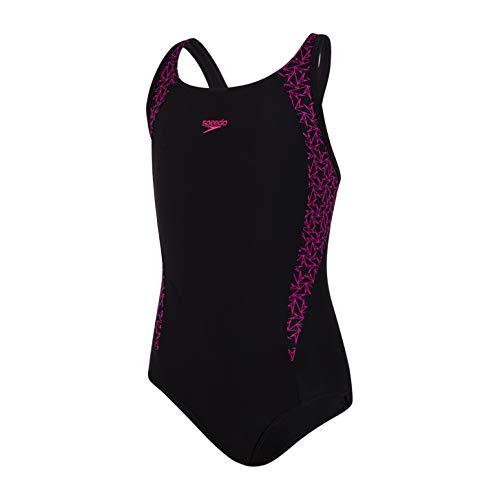 Speedo Mädchen Boomstar Badeanzug, Schwarz/Electric Pink