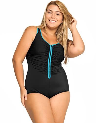 DELIMIRA Damen Badeanzug mit Reißverschluss