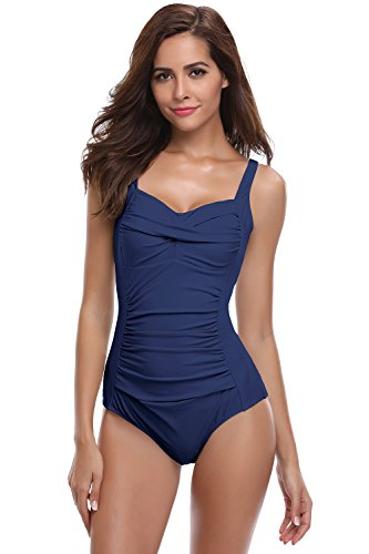 SHEKINI Damen Badeanzug, dunkelblau