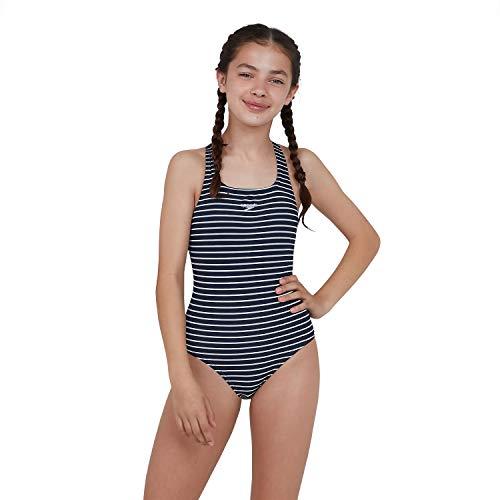 Speedo Mädchen Badeanzug, navyblau/weiß - 3
