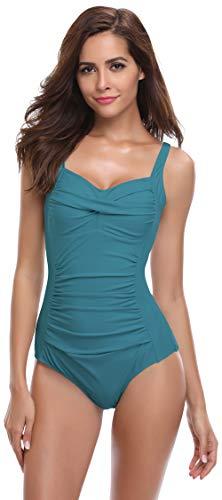 SHEKINI Damen Badeanzug, dunkelgrün