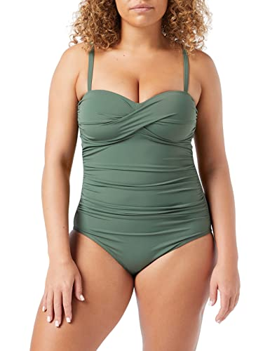 Iris & Lilly Damen Shaping-Badeanzug mit Wickeldesign, Grün