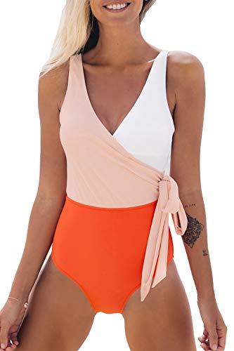 CUPSHE Damen Badeanzug mit Wickeloptik, Orange/Weiß