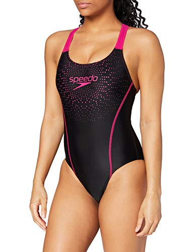 Speedo Damen Badeanzug Gala, Schwarz/Pink