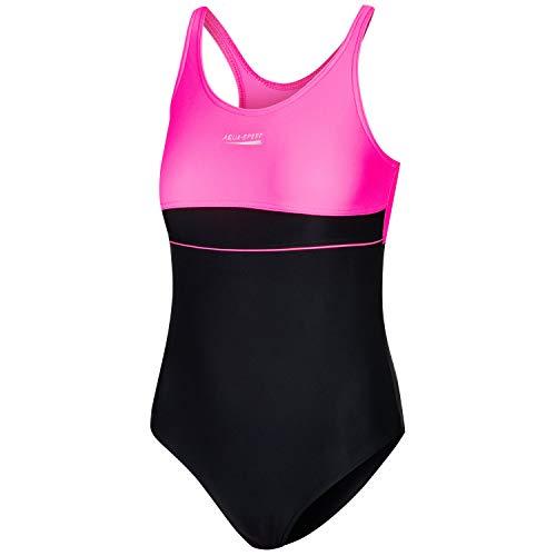 Aqua Speed Mädchen Badeanzug, Schwarz/Pink