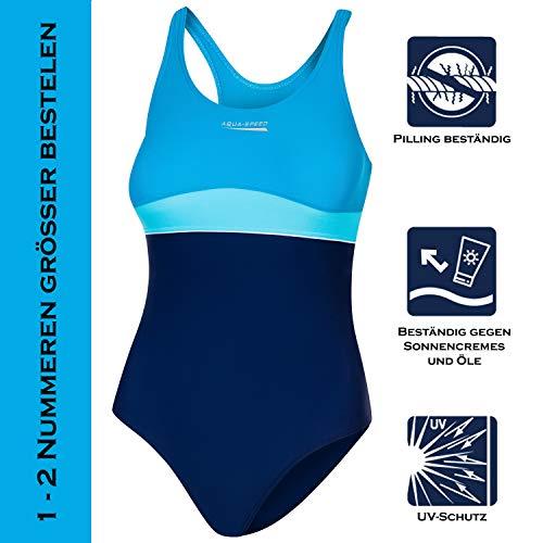 Aqua Speed Badeanzug Mädchen, Blau/Türkis - 2