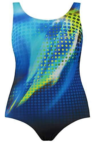 Ulla Popken blauer Badeanzug mit Muster (große Größen)